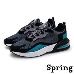 【SPRING】時尚撞色飛織反光飾條彈力氣墊個性運動鞋 灰藍