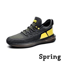 【SPRING】復古時尚撞色拼接超大氣墊透氣彈力飛織運動鞋 灰黃
