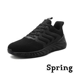 【SPRING】動感流線造型拼接透氣飛織彈力時尚運動鞋 黑