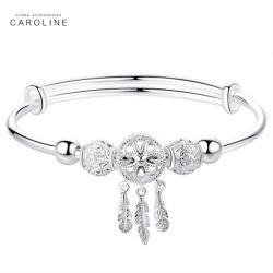 《Caroline》925鍍銀手環.鏤空愛心捕夢網設計優雅流行時尚手環72576