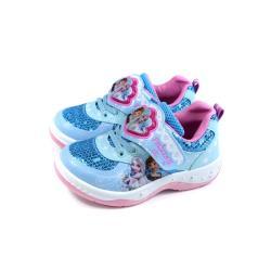 冰雪奇緣 Elsa Anna 休閒運動鞋 電燈鞋 魔鬼氈 水藍/粉 中童 童鞋 FNKX04966 no737