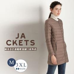 【艾米蘭】韓版保暖90%輕羽絨圓領長版大衣(M-3XL)