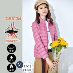 【艾米蘭】韓版保暖90%輕羽絨立領拉鍊外套 (M-3XL)