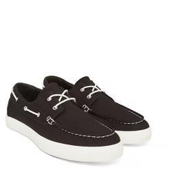 Timberland 男款黑色帆布帆船鞋A1Q9F001