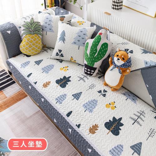 【BonBon naturel】100%純棉美式田園拼布防滑沙發墊-三人坐墊 #4215 4216