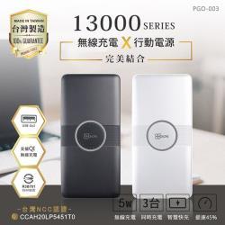 GOGOPhone 13000 Qi無線充電行動電源 台灣製造(三輸出 二輸入)