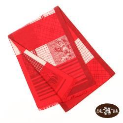 【岱妮蠶絲】純蠶絲保暖刷毛圍巾-火紅馬紋(SYG0ZA01)