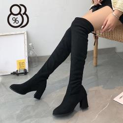 【88%】6.5CM長靴 率性百搭後綁帶絨面粗跟靴 膝上靴 過膝靴 黑靴