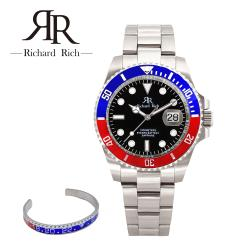 RICHARD RICH 時尚經典水鬼系列男士石英鋼帶手錶 - 銀紅