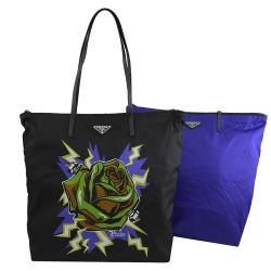 PRADA 1BY300 玫瑰花風尼龍皮飾邊托特包兩件組.黑/藍