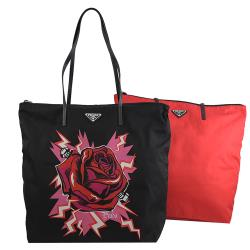 PRADA 1BY300 玫瑰花風尼龍皮飾邊托特包兩件組.黑/紅
