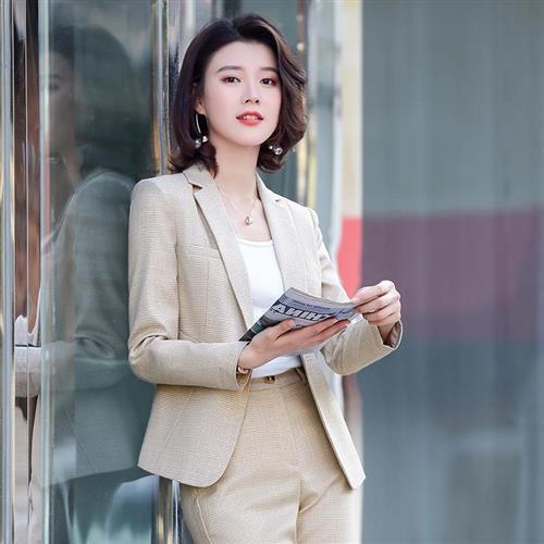 【米蘭精品】西裝套裝外套+褲/裙(兩件套)-格紋休閒舒適修身女西服6款73yz16