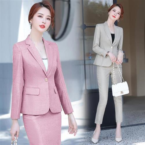 【米蘭精品】西裝套裝外套+褲/裙(兩件套)-純色休閒修身氣質女西服4色73yz4/