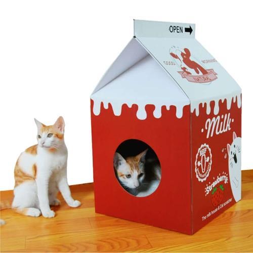 牛奶盒造型貓抓窩