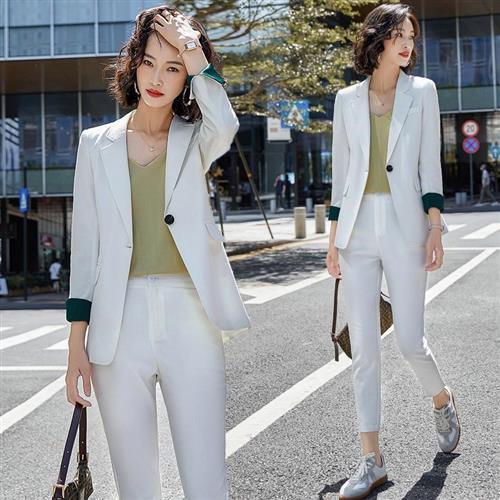【米蘭精品】西裝套裝外套+長褲(兩件套)-撞色格紋拼接袖口女西服4色73yz34
