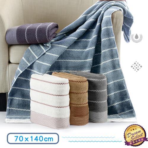 波紋浴巾 2入組(70x140cm) 吸水浴巾 大浴巾 純棉浴巾 速乾浴巾