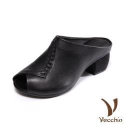 【Vecchio】真皮頭層牛皮手工縫線交叉摺疊魚口露趾造型粗跟拖鞋 黑