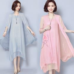【韓國K.W.】曼舞倩影桑蠶絲二件套洋裝外套