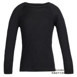 【icebreaker】 兒童 Oasis 圓領長袖上衣-BF200-黑 IB104501-001