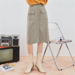 及膝裙 高腰排扣口袋針織及膝裙RW9161-創翊韓都