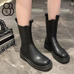 【88%】4C短靴 率性百搭 筒高20CM皮革套腳厚底靴 切爾西靴 黑靴