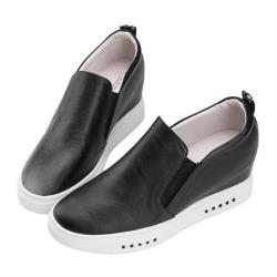 Robinlo 經典款個性織帶牛皮內增高休閒鞋 ZINO-黑色
