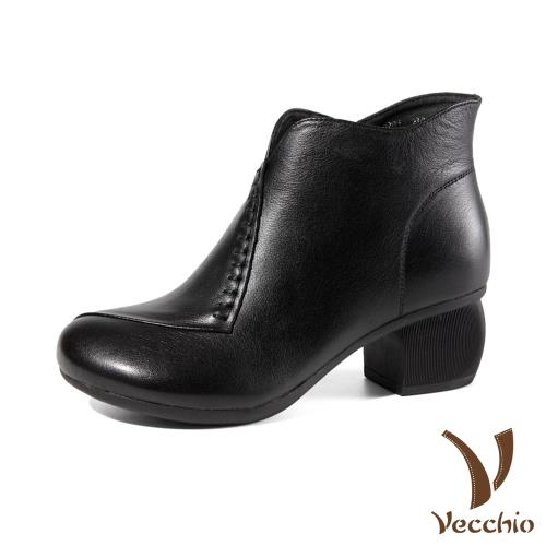 【Vecchio】真皮頭層牛皮質感手工縫線造型舒適寬楦粗跟短靴