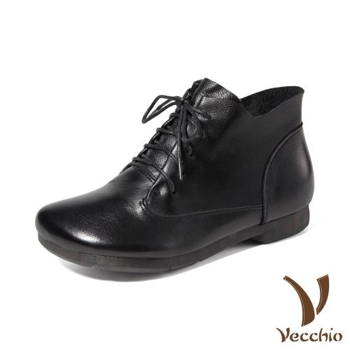 【Vecchio】真皮頭層牛皮寬楦圓頭舒適低跟經典休閒短靴