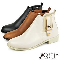 Pretty 俐落個性金屬皮帶釦側拉鍊低跟短靴/踝靴BA-2H021