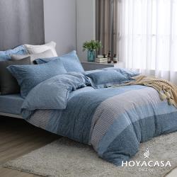 HOYACASA  雙人抗菌精紡棉兩用被床包四件組-線條藍調