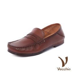 【Vecchio】全真皮頭層牛皮兩穿法復古一字帶舒適方頭便士樂福鞋 棕