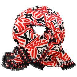 Louis Vuitton LV Crafty 羊毛Gaston Vuitton 圖案流蘇飾邊披巾(紅黑)