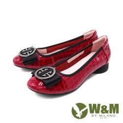 W&M (女)方圓頭飾釦漆皮娃娃鞋 包鞋 女鞋 -紅(另有黑)