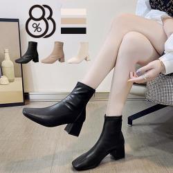 【88%】6CM短靴 優雅氣質百搭素面 筒高15CM皮革後拉鍊方頭粗跟靴 高跟短靴