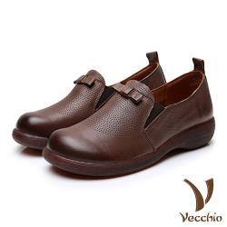 【Vecchio】真皮頭層牛皮細緻沖孔蝴蝶結造型厚底休閒樂福鞋 咖