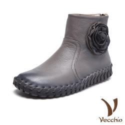 【Vecchio】全真皮立體花朵手工縫線超軟底休閒短靴 深灰