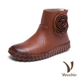 【Vecchio】全真皮立體花朵手工縫線超軟底休閒短靴 棕