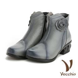 【Vecchio】真皮手工立體花飾甜美低跟短靴 灰