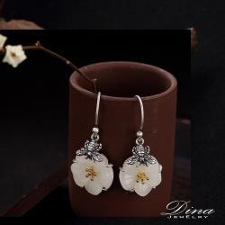 【DINA 蒂娜珠寶】典雅白玉 925純銀耳環(YH53321)