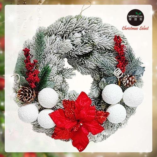 摩達客耶誕-台製16吋設計師款優雅刷雪紅果聖誕紅聖誕花圈(免組裝)