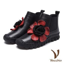 【Vecchio】頭層真皮甜美立體大花朵手工縫線切爾西短靴 黑