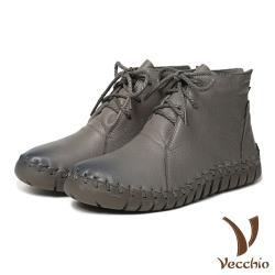 【Vecchio】頭層真皮手工流線剪裁蠟繩綁帶休閒短靴 灰
