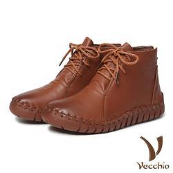 【Vecchio】頭層真皮手工流線剪裁蠟繩綁帶休閒短靴 棕