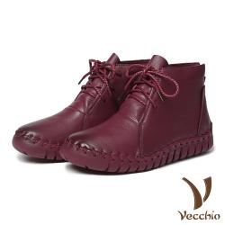 【Vecchio】頭層真皮手工流線剪裁蠟繩綁帶休閒短靴 酒紅