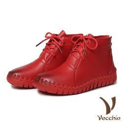 【Vecchio】頭層真皮手工流線剪裁蠟繩綁帶休閒短靴 紅