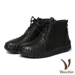 【Vecchio】頭層真皮手工流線剪裁蠟繩綁帶休閒短靴 黑