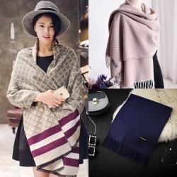 【Emi艾迷】冬季保暖圍巾-純色格紋多款選
