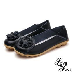 【LOVE FOOT 樂芙】真皮立體花朵兩穿法百搭軟底豆豆鞋 黑(2款任選)