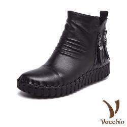 【Vecchio】頭層真皮抓摺金屬拉鍊飾手工縫線軟底休閒短靴 黑