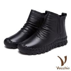 【Vecchio】頭層真皮自然摺皺切爾西短靴 黑